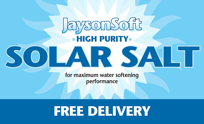 Logo illustration of JaysonSoft High Purity Solar Salt for water softening with FREE DELIVERY subhead