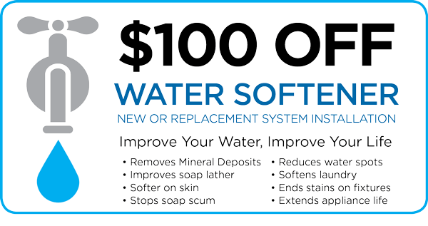Water Softener Installation Special graphic showing faucet illustration and listing some benefits